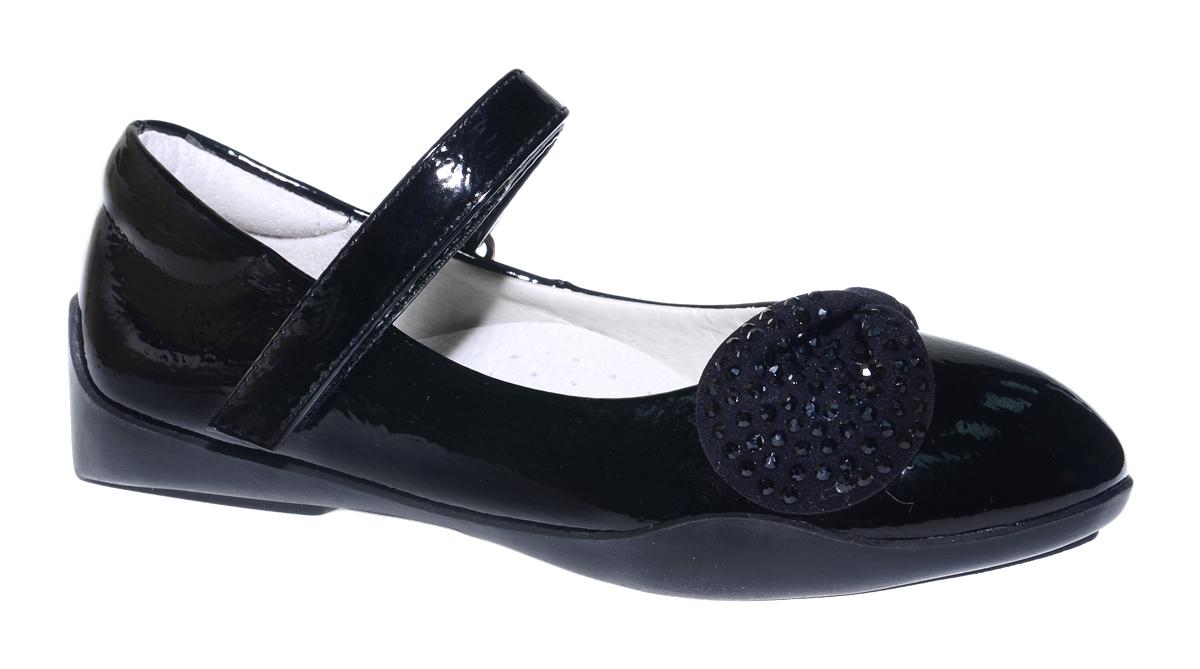 Туфли для девочки Болеро, цвет: черный. G17003. Размер 27G17003Очаровательные туфли для девочки Болеро станут неотъемлемой частью повседневной жизни юной модницы.Модель выполнена из искусственной лакированной кожи и оформлена декоративным элементом со стразами. Внутренняя отделка выполнена из натуральной кожи. Удобная застежка-липучка быстро и надежно фиксирует обувь на ноге ребенка, а формованный задник обеспечивает правильную установку стопы внутри туфель, предотвращая развитие деформаций.Стелька с супинатором, изготовленная из натуральной кожи, учитывает анатомические особенности строения детской стопы, обеспечивает профилактику от развития плоскостопия и гарантирует ногам ребенка ощущение комфорта и легкости при ходьбе.Рифленая подошва из легкого полимерного термопластичного материала обладает высокой прочностью и гибкостью и обеспечивает надежное сцепление с различными поверхностями.