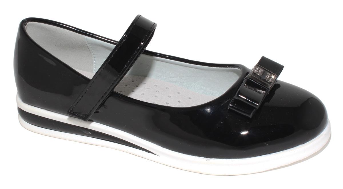 Туфли для девочки Капитошка, цвет: черный. C7275. Размер 31C7275/C7276Модные туфли для девочки Капитошка выполнены из искусственной кожи и оформлены на мысе двойным бантиком с декоративным элементом. Ремешок с застежкой-липучкой надежно зафиксирует модель на ноге. Подкладка и верхняя часть стельки, изготовленные из натуральной кожи, предотвратят натирание и гарантируют уют. Подошва с рифлением обеспечивает отличное сцепление с любой поверхностью. Трендовые туфли придутся по душе вашей девочке.