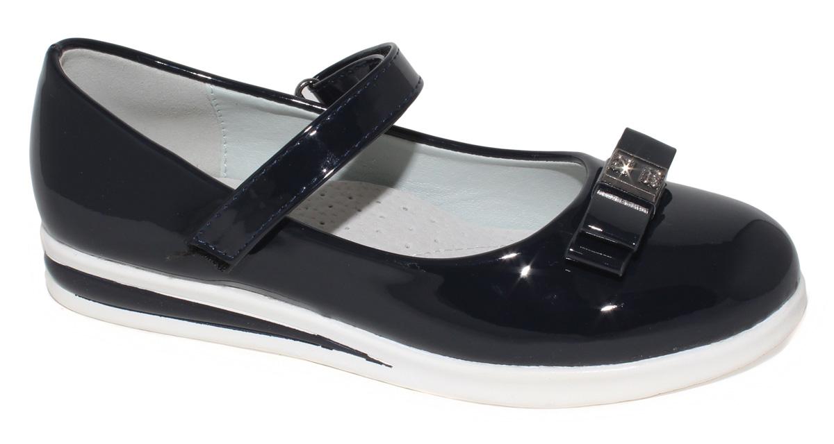 Туфли для девочки Капитошка, цвет: темно-синий. C7276. Размер 35C7275/C7276Модные туфли для девочки Капитошка выполнены из искусственной кожи и оформлены на мысе двойным бантиком с декоративным элементом. Ремешок с застежкой-липучкой надежно зафиксирует модель на ноге. Подкладка и верхняя часть стельки, изготовленные из натуральной кожи, предотвратят натирание и гарантируют уют. Подошва с рифлением обеспечивает отличное сцепление с любой поверхностью. Трендовые туфли придутся по душе вашей девочке.