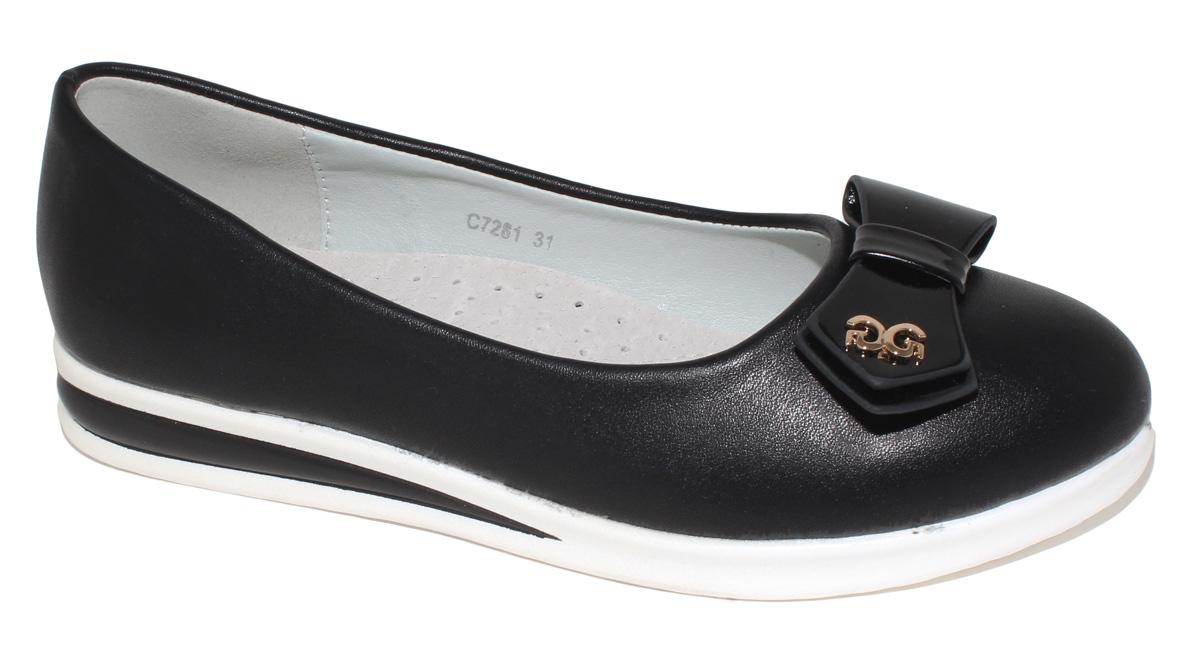 Туфли для девочки Капитошка, цвет: черный. C7281. Размер 34C7282/C7281Модные туфли для девочки Капитошка выполнены из искусственной кожи и оформлены на мысе бантиком с декоративным элементом. Подкладка и верхняя часть стельки, изготовленные из натуральной кожи, предотвратят натирание и гарантируют уют. Подошва с рифлением обеспечивает отличное сцепление с любой поверхностью. Трендовые туфли придутся по душе вашей девочке.
