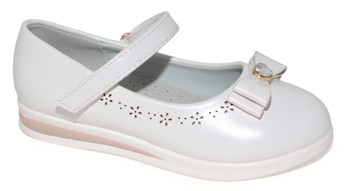 Туфли для девочки Капитошка, цвет: белый. C7339. Размер 28C7339Модные туфли для девочки Капитошка выполнены из искусственной кожи и оформлены на мысе - двойным бантиком с декоративным элементом. Ремешок с застежкой-липучкой надежно зафиксирует модель на ноге. Подкладка и верхняя часть стельки, изготовленные из натуральной кожи, предотвратят натирание и гарантируют уют. Подошва с рифлением обеспечивает отличное сцепление с любой поверхностью. Трендовые туфли придутся по душе вашей девочке.