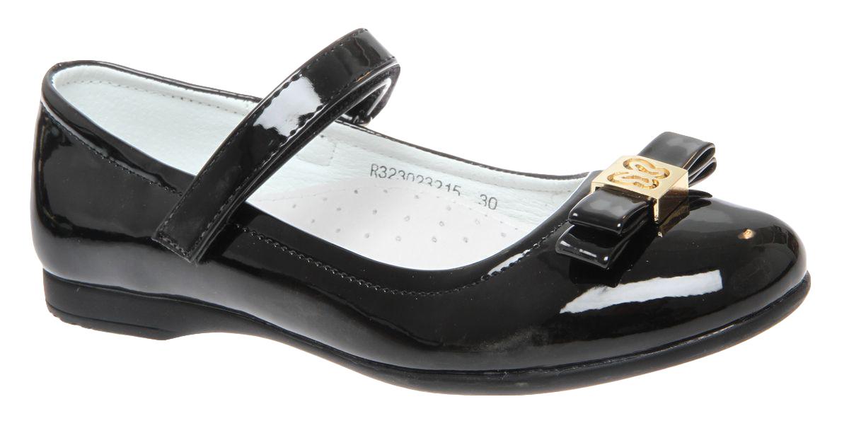 Туфли для девочки Сказка, цвет: черный. R323023215. Размер 37R323023215Прелестные туфли от бренда Сказка придутся по душе вашей юной моднице! Модель изготовлена из комбинации натуральной и искусственной кожи. Мыс туфель декорирован бантом с золотистой фурнитурой. Ремешок с застежкой-липучкой отвечает за надежную фиксацию модели на ноге. Внутренняя поверхность из натуральной кожи не натирает. Стелька из материала ЭВА с поверхностью из натуральной кожи дополнена супинатором, который обеспечивает правильное положение ноги ребенка при ходьбе, предотвращает плоскостопие. Подошва с рифлением обеспечивает идеальное сцепление с любыми поверхностями. Стильные туфли - незаменимая вещь в гардеробе каждой девочки.