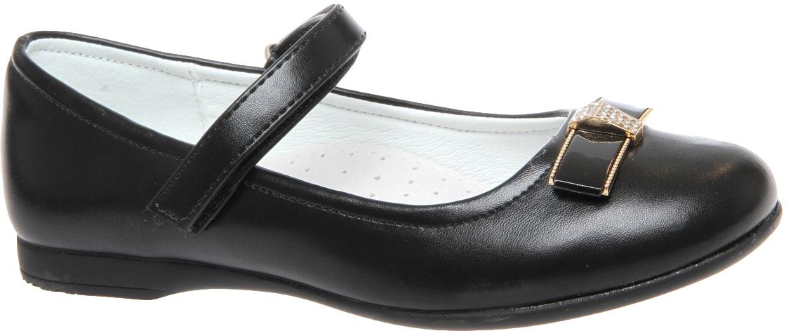 Туфли для девочки Сказка, цвет: черный матовый. R323023217. Размер 32R323023217Прелестные туфли от бренда Сказка придутся по душе вашей юной моднице! Модель изготовлена из комбинации натуральной и искусственной кожи. Мыс туфель оформлен бантом со стильной фурнитурой. Ремешок с застежкой-липучкой отвечает за надежную фиксацию модели на ноге. Внутренняя поверхность из натуральной кожи не натирает. Стелька из материала ЭВА с поверхностью из натуральной кожи дополнена супинатором, который обеспечивает правильное положение ноги ребенка при ходьбе, предотвращает плоскостопие. Подошва с рифлением обеспечивает идеальное сцепление с любыми поверхностями. Стильные туфли - незаменимая вещь в гардеробе каждой девочки.