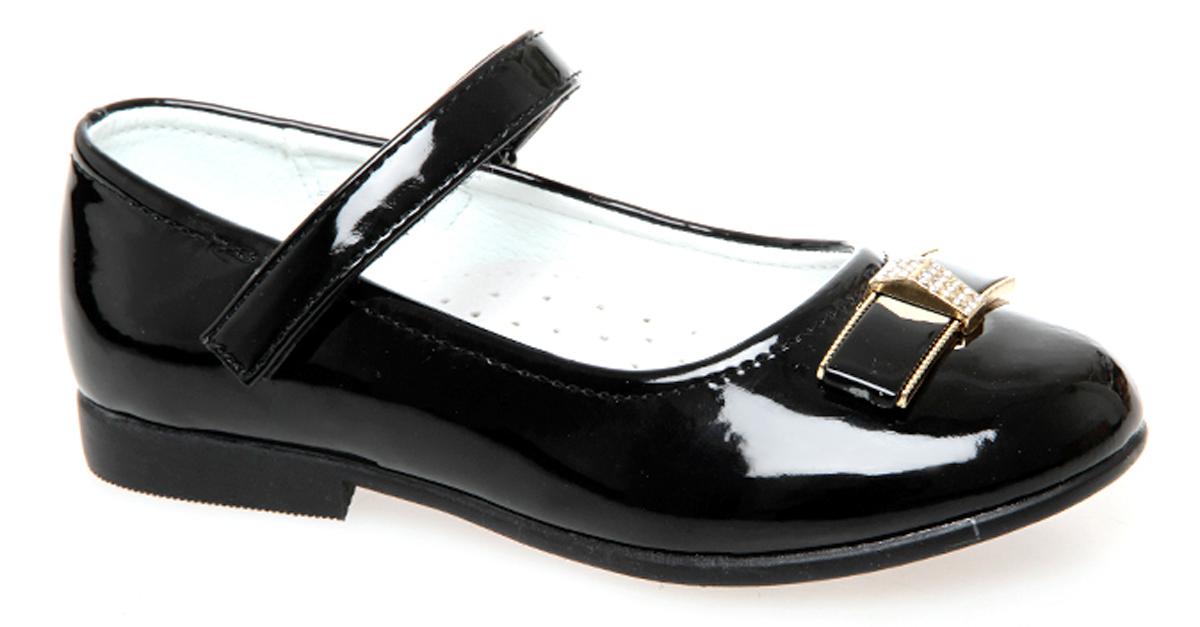 Туфли для девочки Сказка, цвет: черный. R201322702. Размер 29R201322702Прелестные туфли от бренда Сказка придутся по душе вашей юной моднице! Модель изготовлена из комбинации натуральной и искусственной кожи. Мыс туфель оформлен бантом со стильной фурнитурой. Ремешок с застежкой-липучкой отвечает за надежную фиксацию модели на ноге. Внутренняя поверхность из натуральной кожи не натирает. Стелька из материала ЭВА с поверхностью из натуральной кожи дополнена супинатором, который обеспечивает правильное положение ноги ребенка при ходьбе, предотвращает плоскостопие. Подошва с рифлением обеспечивает идеальное сцепление с любыми поверхностями. Стильные туфли - незаменимая вещь в гардеробе каждой девочки.