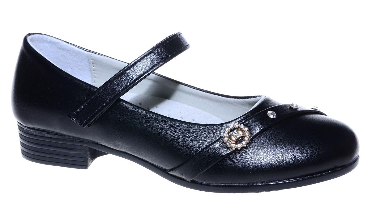 Туфли для девочки Мифер, цвет: темно-синий. 7216K-2. Размер 327216K-2Прелестные туфли от бренда Мифер придутся по душе вашей юной моднице! Модель изготовлена из искусственной кожи и оформлена на мысе стразами и стильной фурнитурой. Ремешок с застежкой-липучкой отвечает за надежную фиксацию модели на ноге. Внутренняя поверхность из натуральной кожи не натирает. Стелька из кожи дарит комфорт при носке. Подошва с рифлением обеспечивает идеальное сцепление с любыми поверхностями. Стильные туфли - незаменимая вещь в гардеробе каждой девочки.