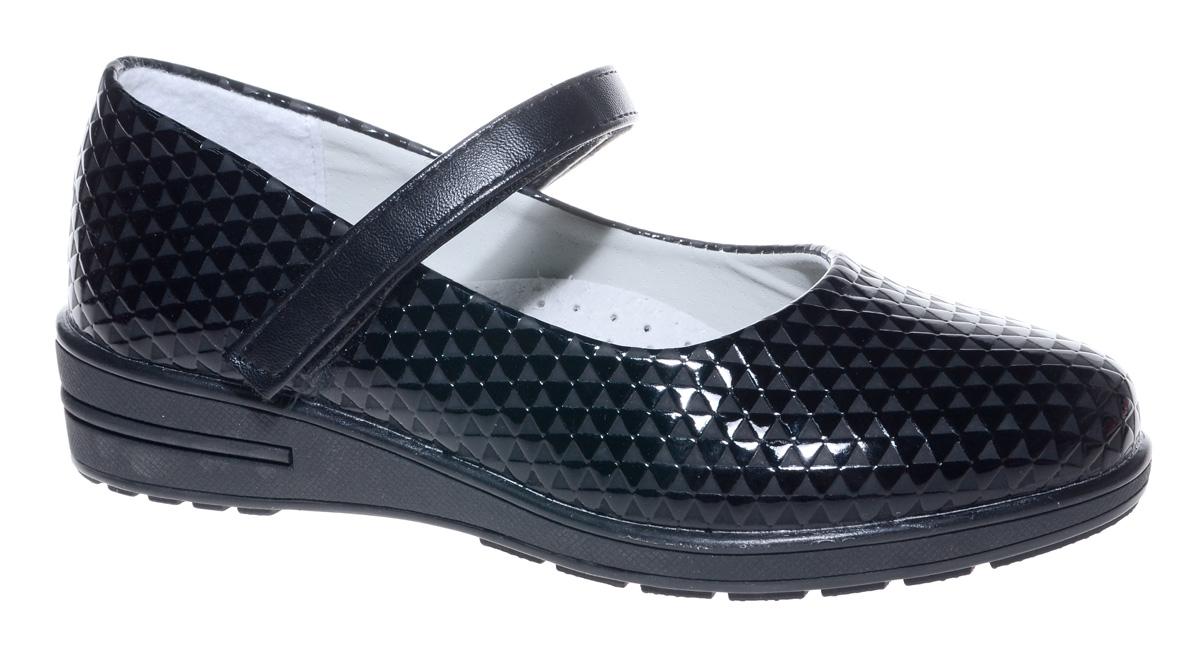 Туфли для девочки Мифер, цвет: черный. 7217C-1. Размер 327217C-1Прелестные туфли от бренда Мифер придутся по душе вашей юной моднице! Модель изготовлена из искусственной кожи и оформлена декоративным тиснением. Ремешок с застежкой-липучкой отвечает за надежную фиксацию модели на ноге. Внутренняя поверхность из натуральной кожи не натирает. Стелька из кожи дарит комфорт при носке. Подошва с рифлением обеспечивает идеальное сцепление с любыми поверхностями. Стильные туфли - незаменимая вещь в гардеробе каждой девочки.