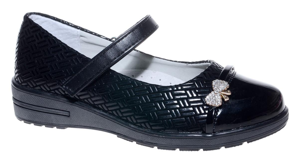 Туфли для девочки Мифер, цвет: черный. 7217G-1. Размер 377217G-1Прелестные туфли от бренда Мифер придутся по душе вашей юной моднице! Модель изготовлена из искусственной кожи, оформлена декоративным тиснением и на мысе декорирована бантиком со стразами. Ремешок с застежкой-липучкой отвечает за надежную фиксацию модели на ноге. Внутренняя поверхность из натуральной кожи не натирает. Стелька из кожи дарит комфорт при носке. Подошва с рифлением обеспечивает идеальное сцепление с любыми поверхностями. Стильные туфли - незаменимая вещь в гардеробе каждой девочки.