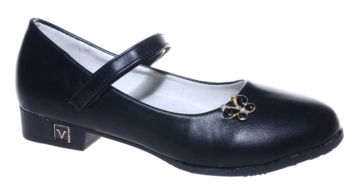 Туфли для девочки Мифер, цвет: черный. 7219C-1. Размер 377219C-1Прелестные туфли от бренда Мифер придутся по душе вашей юной моднице! Модель изготовлена из гладкой искусственной кожи и на мысе оформлена декоративным элементом в виде бабочки. Ремешок с застежкой-липучкой отвечает за надежную фиксацию модели на ноге. Внутренняя поверхность из натуральной кожи не натирает. Стелька из кожи дарит комфорт при носке. Подошва с рифлением обеспечивает идеальное сцепление с любыми поверхностями. Стильные туфли - незаменимая вещь в гардеробе каждой девочки.