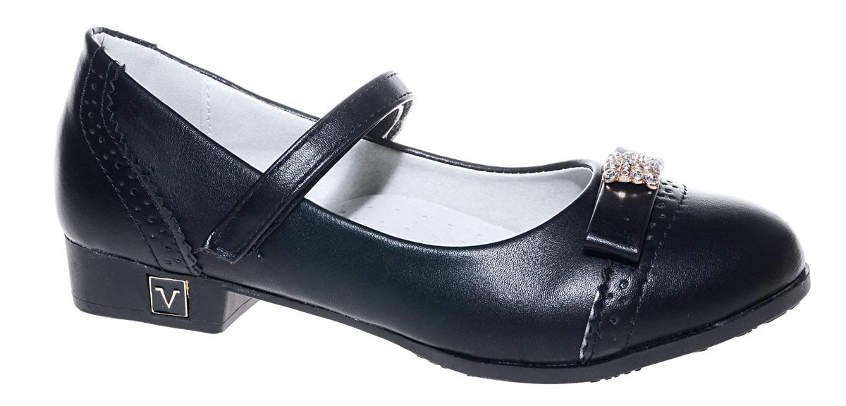 Туфли для девочки Мифер, цвет: черный. 7219E-1. Размер 337219E-1Прелестные туфли от бренда Мифер придутся по душе вашей юной моднице! Модель изготовлена из гладкой искусственной кожи и на мысе оформлена бантиком со стразами. Ремешок с застежкой-липучкой отвечает за надежную фиксацию модели на ноге. Внутренняя поверхность из натуральной кожи не натирает. Стелька из кожи дарит комфорт при носке. Подошва с рифлением обеспечивает идеальное сцепление с любыми поверхностями. Стильные туфли - незаменимая вещь в гардеробе каждой девочки.