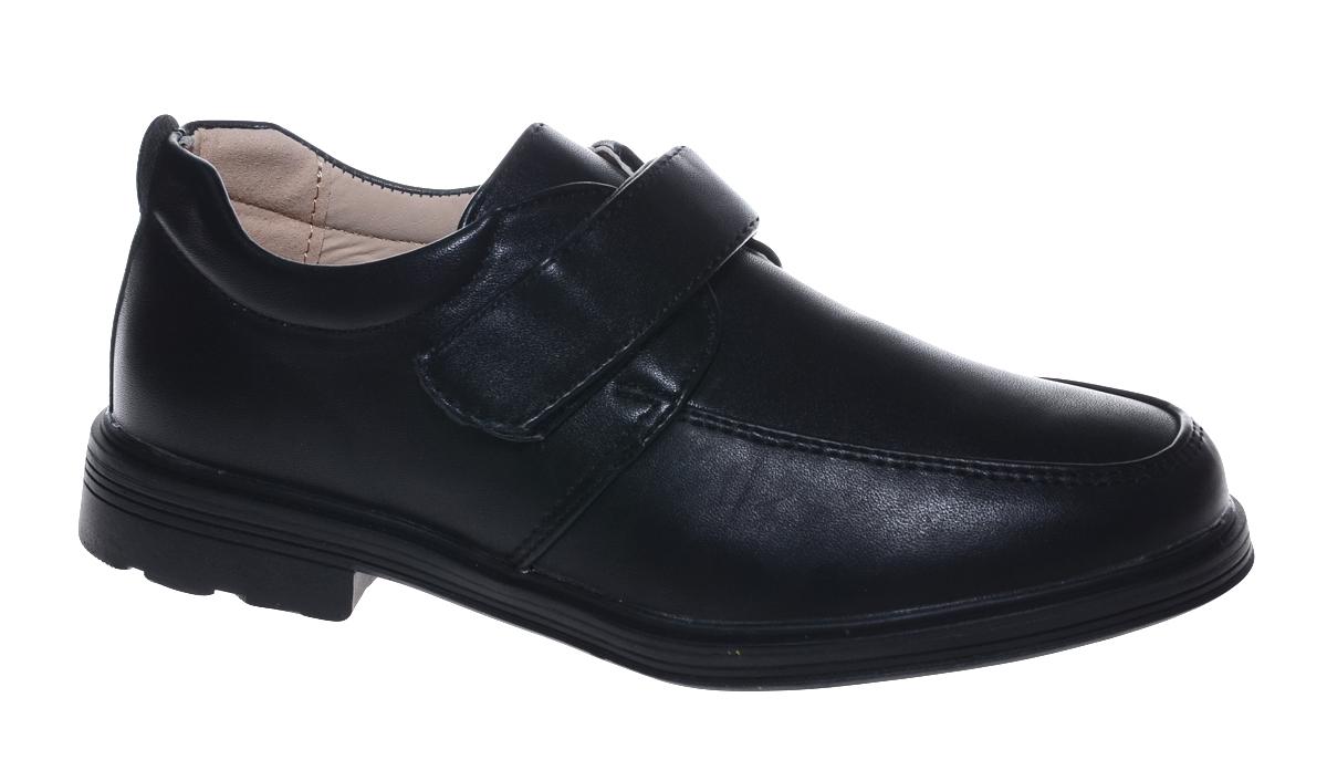 Полуботинки для мальчика Мифер, цвет: черный. 7221A-1. Размер 357221A-1Стильные полуботинки от бренда Мифер займут достойное место среди коллекции обуви вашего мальчика. Модель выполнена из гладкой искусственной кожи. Подъем дополнен ремешком с липучкой, которая надежно зафиксирует обувь на ноге. Внутренняя поверхность и стелька, изготовленные из натуральной кожи, обеспечат ногам комфорт и уют. Подошва из легкого ТЭП-материала с рифлением гарантирует отличное сцепление с любой поверхностью. Модные полуботинки придутся по душе вашему мальчику.