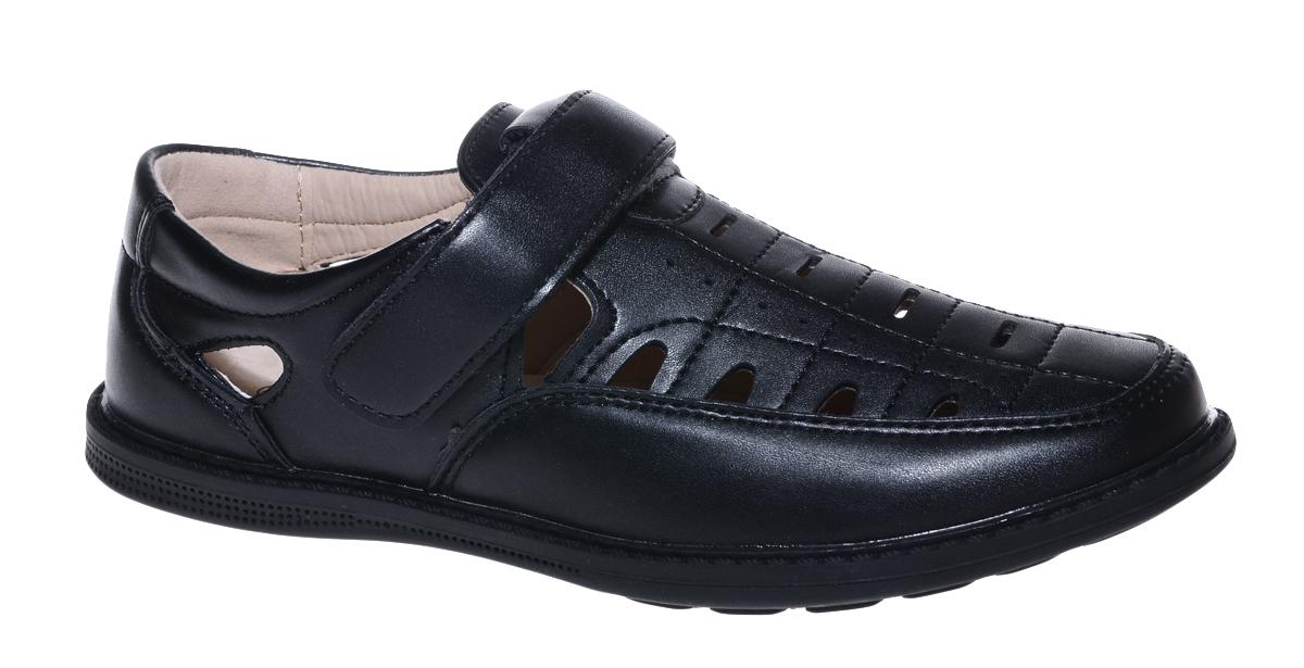 Полуботинки для мальчика Мифер, цвет: черный. 7308D-1. Размер 377308D-1Стильные полуботинки от бренда Мифер займут достойное место среди коллекции обуви вашего мальчика. Модель выполнена из гладкой искусственной кожи с декоративной прострочкой и перфорацией. Подъем дополнен ремешком с липучкой, которая надежно зафиксирует обувь на ноге. Внутренняя поверхность и стелька, изготовленные из натуральной кожи, обеспечат ногам комфорт и уют. Подошва из легкого ТЭП-материала с рифлением гарантирует отличное сцепление с любой поверхностью. Модные полуботинки придутся по душе вашему мальчику.