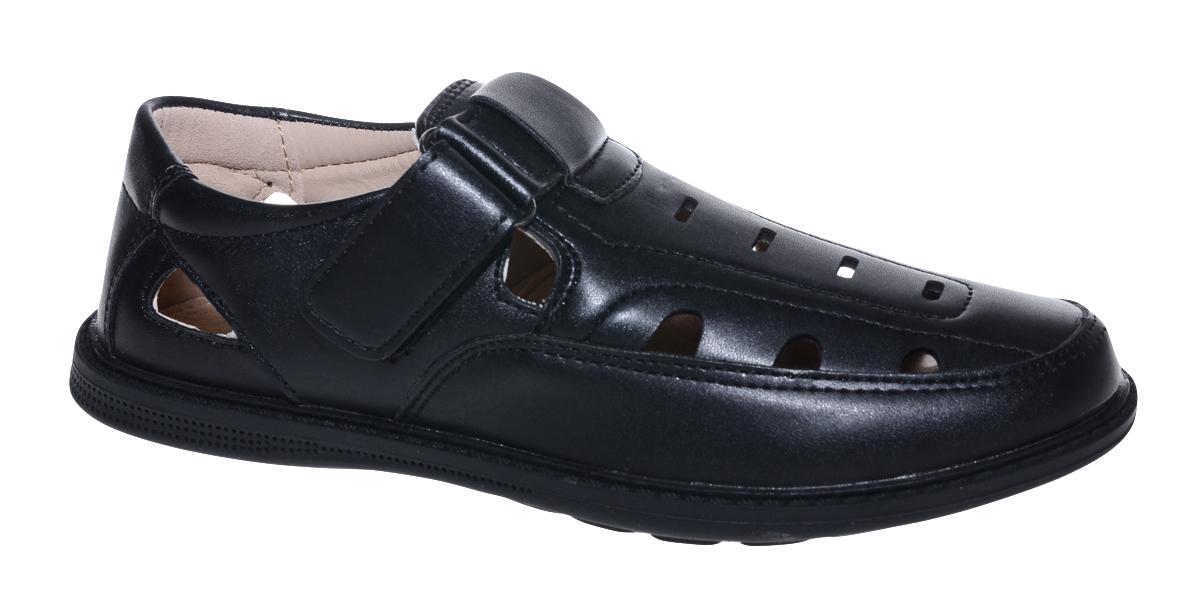 Полуботинки для мальчика Мифер, цвет: черный. 7308G-1. Размер 337308G-1Стильные полуботинки от бренда Мифер займут достойное место среди коллекции обуви вашего мальчика. Модель выполнена из гладкой искусственной кожи с декоративной прострочкой и перфорацией. Подъем дополнен ремешком с липучкой, которая надежно зафиксирует обувь на ноге. Внутренняя поверхность и стелька, изготовленные из натуральной кожи, обеспечат ногам комфорт и уют. Подошва из легкого ТЭП-материала с рифлением гарантирует отличное сцепление с любой поверхностью. Модные полуботинки придутся по душе вашему мальчику.