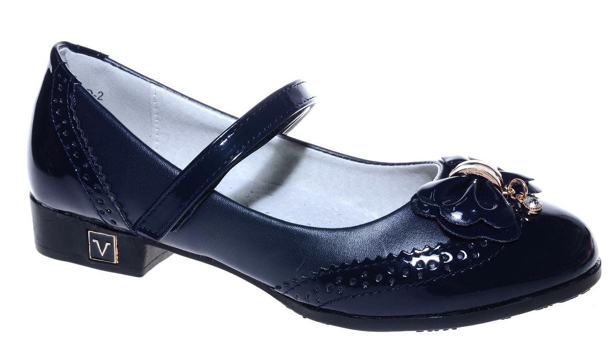Туфли для девочки Мифер, цвет: синий. 7219D-2. Размер 327219D-2Прелестные туфли от бренда Мифер придутся по душе вашей юной моднице! Модель изготовлена из гладкой искусственной кожи и на мысе оформлена бантиком со стразами. Ремешок с застежкой-липучкой отвечает за надежную фиксацию модели на ноге. Внутренняя поверхность из натуральной кожи не натирает. Стелька из кожи дарит комфорт при носке. Подошва с рифлением обеспечивает идеальное сцепление с любыми поверхностями. Стильные туфли - незаменимая вещь в гардеробе каждой девочки.