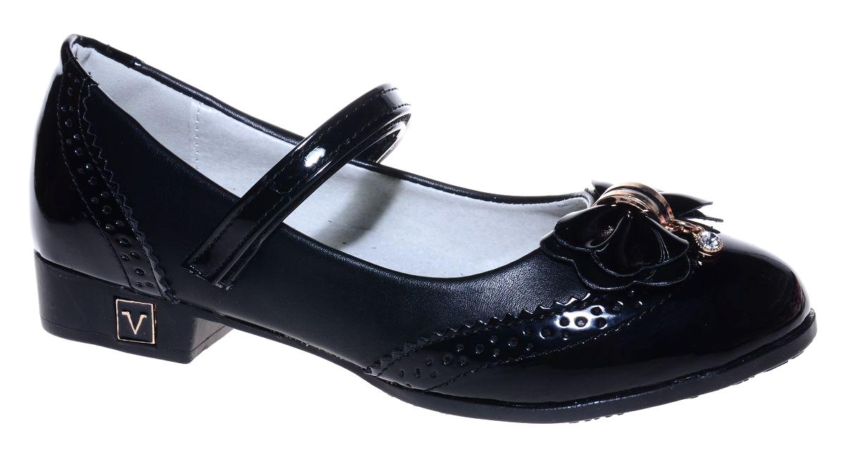 Туфли для девочки Мифер, цвет: черный. 7219D-1. Размер 377219D-1Прелестные туфли от бренда Мифер придутся по душе вашей юной моднице! Модель изготовлена из гладкой искусственной кожи и на мысе оформлена бантиком со стразами. Ремешок с застежкой-липучкой отвечает за надежную фиксацию модели на ноге. Внутренняя поверхность из натуральной кожи не натирает. Стелька из кожи дарит комфорт при носке. Подошва с рифлением обеспечивает идеальное сцепление с любыми поверхностями. Стильные туфли - незаменимая вещь в гардеробе каждой девочки.