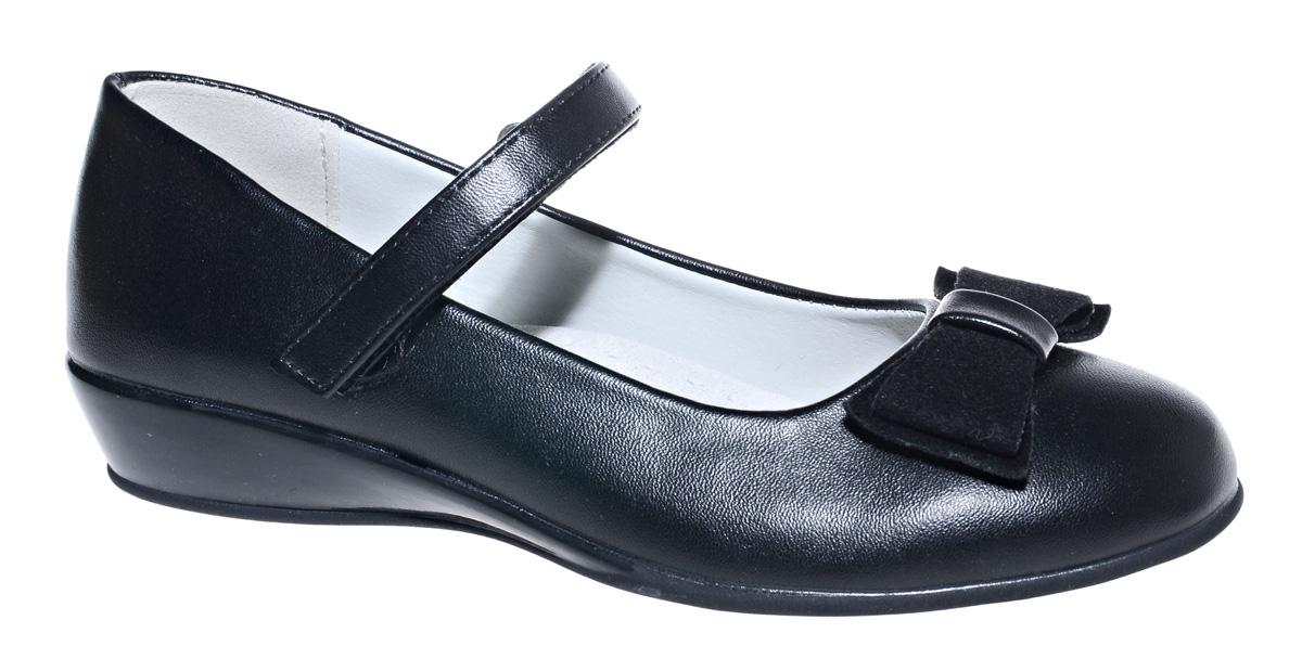 Туфли для девочки М+Д, цвет: черный. 7490_1А. Размер 377490_1АСтильные туфли для девочки от М+Д выполнены из искусственной кожи. Модель на небольшой танкетке на подъеме дополнена ремешком на липучке, который надежно фиксирует обувь на ноке. Туфли оформлены очаровательным бантиком.