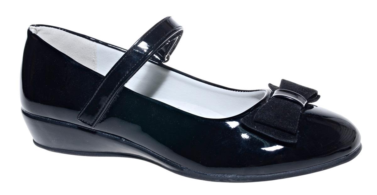 Туфли для девочки М+Д, цвет: черный. 7490_1В. Размер 327490_1ВСтильные туфли для девочки от М+Д выполнены из искусственной лаковой кожи. Модель на небольшой танкетке на подъеме дополнена ремешком на липучке, который надежно фиксирует обувь на ноке. Туфли оформлены очаровательным бантиком.