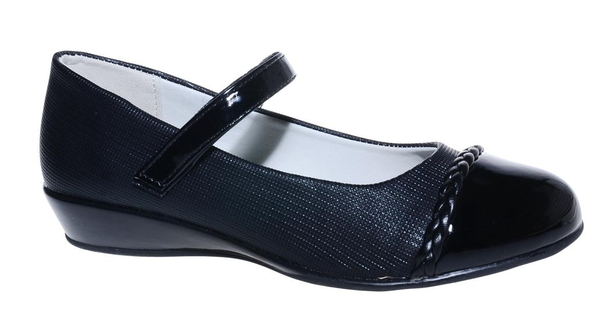 Туфли для девочки М+Д, цвет: черный. 7491_1. Размер 357491_1Стильные туфли для девочки от М+Д выполнены из искусственной кожи. Модель на небольшой танкетке на подъеме дополнена ремешком на липучке, который надежно фиксирует обувь на ноке.