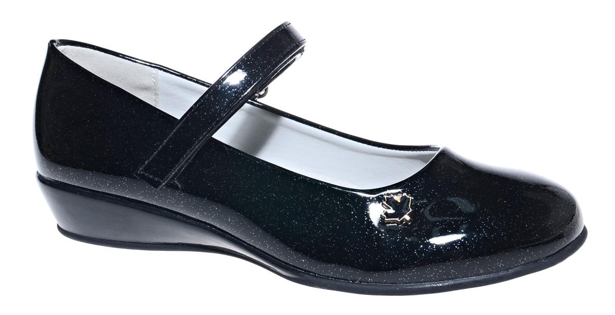 Туфли для девочки М+Д, цвет: черный. 7492_1. Размер 327492_1Стильные туфли для девочки от М+Д выполнены из искусственной лаковой кожи. Модель на небольшой танкетке на подъеме дополнена ремешком на липучке, который надежно фиксирует обувь на ноке. Туфли оформлены небольшим декоративным элементом.