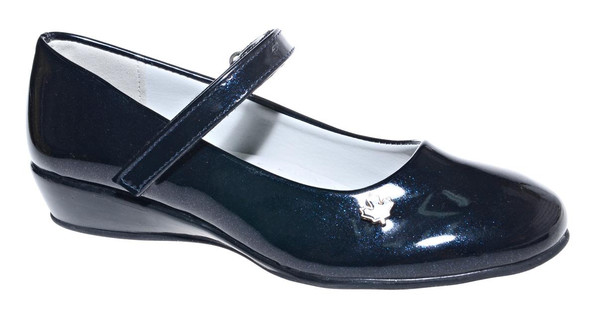 Туфли для девочки М+Д, цвет: темно-синий. 7492_2. Размер 317492_2Стильные туфли для девочки от М+Д выполнены из искусственной лаковой кожи. Модель на небольшой танкетке на подъеме дополнена ремешком на липучке, который надежно фиксирует обувь на ноке. Туфли оформлены небольшим декоративным элементом.