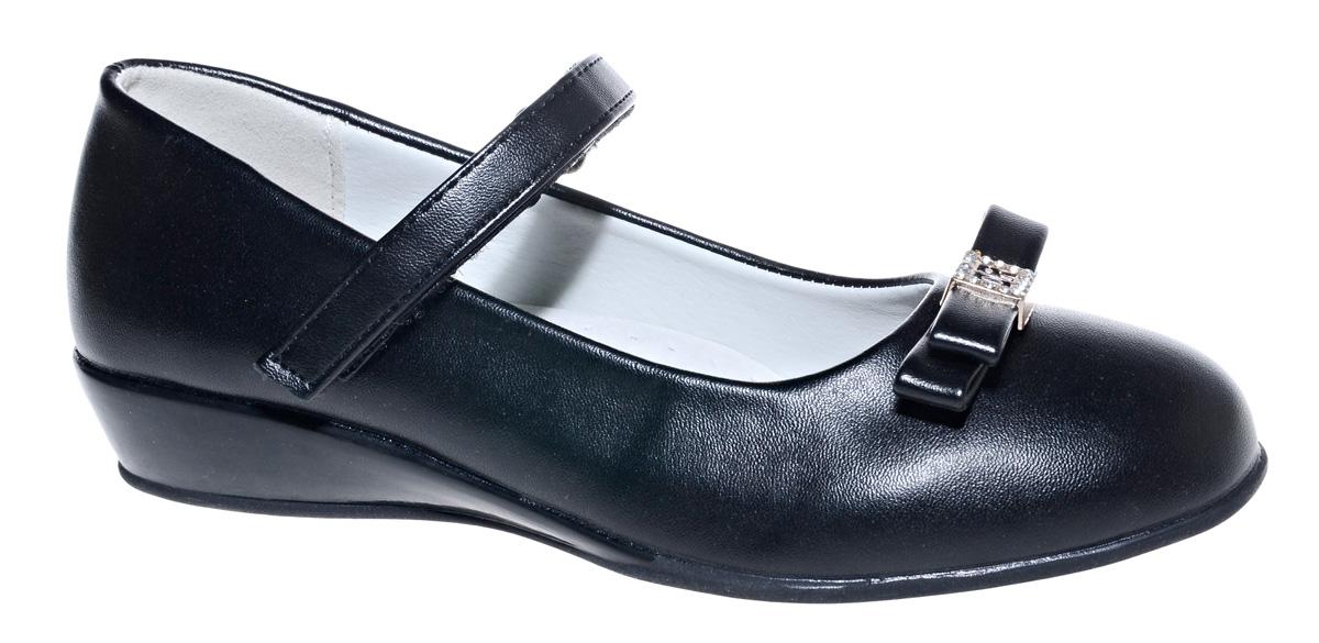 Туфли для девочки М+Д, цвет: черный. 7493_1A. Размер 347493_1AСтильные туфли для девочки от М+Д выполнены из искусственной кожи. Модель на небольшой танкетке на подъеме дополнена ремешком на липучке, который надежно фиксирует обувь на ноке. Туфли оформлены очаровательным бантиком.