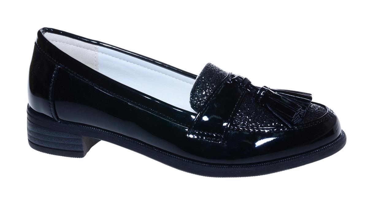 Туфли для девочки М+Д, цвет: черный. 7495_1. Размер 327495_1Стильные туфли-лоферы для девочки от М+Д выполнены из искусственной лаковой кожи. Модель на небольшом квадратном каблуке на подъеме декорирована кисточками.