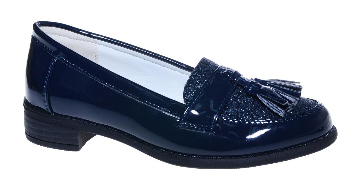 Туфли для девочки М+Д, цвет: темно-синий. 7495_2. Размер 327495_2Стильные туфли-лоферы для девочки от М+Д выполнены из искусственной лаковой кожи. Модель на небольшом квадратном каблуке на подъеме декорирована кисточками.