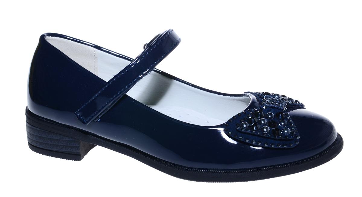 Туфли для девочки М+Д, цвет: темно-синий. 7496_2. Размер 327496_2Стильные туфли для девочки от М+Д выполнены из искусственной лаковой кожи. Модель на небольшом квадратном каблуке на подъеме фиксируется при помощи ремешка на липучке. Туфли декорированы очаровательным бантиком со стразами.