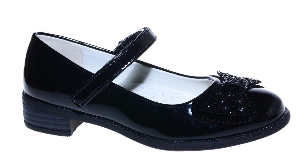 Туфли для девочки М+Д, цвет: черный. 7496_1. Размер 317496_1Стильные туфли для девочки от М+Д выполнены из искусственной лаковой кожи. Модель на небольшом квадратном каблуке на подъеме фиксируется при помощи ремешка на липучке. Туфли декорированы очаровательным бантиком со стразами.