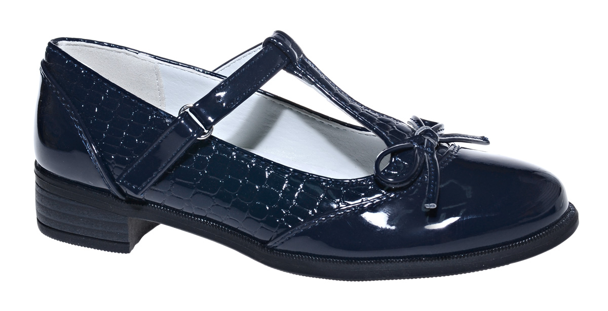 Туфли для девочки М+Д, цвет: темно-синий. 7497_2. Размер 377497_2Стильные туфли для девочки от М+Д выполнены из искусственной лаковой кожи. Модель на небольшом квадратном каблуке на подъеме фиксируется при помощи ремешка на липучке. Туфли оформлены небольшим бантиком.