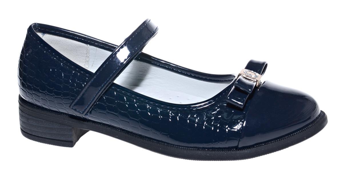 Туфли для девочки М+Д, цвет: темно-синий. 7801_2. Размер 367801_2Стильные туфли для девочки от М+Д выполнены из искусственной лаковой кожи. Модель на небольшом квадратном каблуке на подъеме фиксируется при помощи ремешка на липучке. Туфли оформлены очаровательным бантиком.