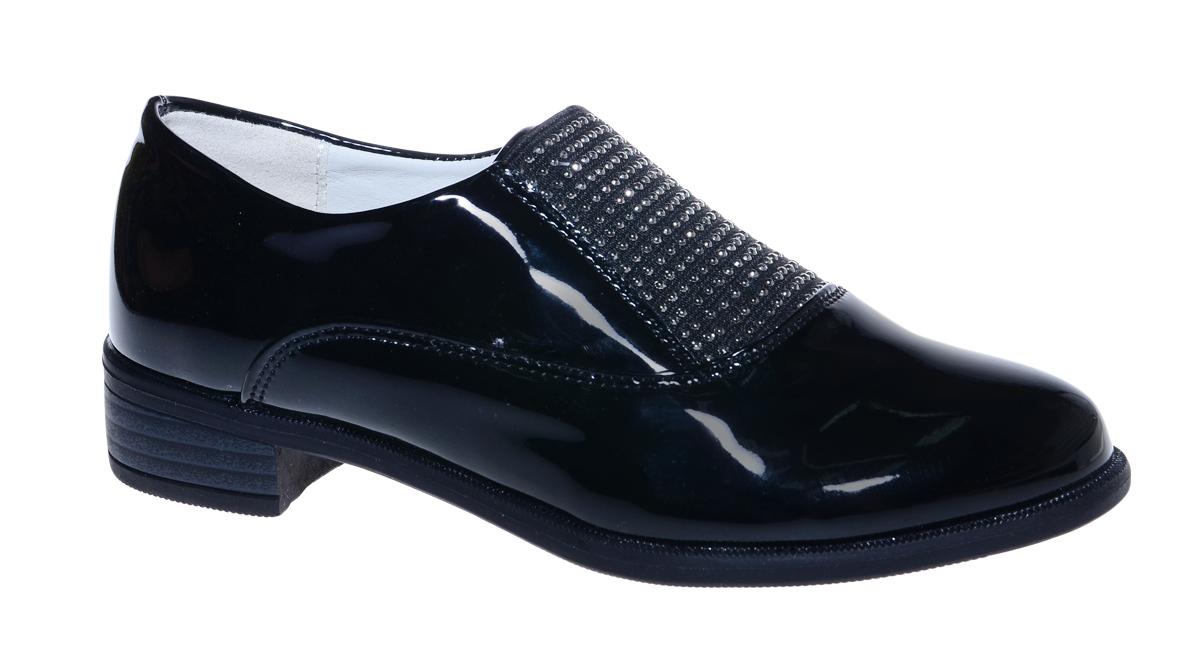 Туфли для девочки М+Д, цвет: черный. 7802_1. Размер 317802_1Стильные туфли для девочки от М+Д выполнены из искусственной лаковой кожи. Модель на небольшом квадратном каблуке на подъеме дополнена эластичной вставкой, оформленной стразами.