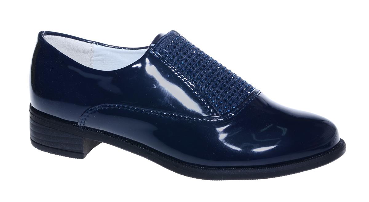 Туфли для девочки М+Д, цвет: темно-синий. 7802_2. Размер 307802_2Стильные туфли для девочки от М+Д выполнены из искусственной лаковой кожи. Модель на небольшом квадратном каблуке на подъеме дополнена эластичной вставкой, оформленной стразами.