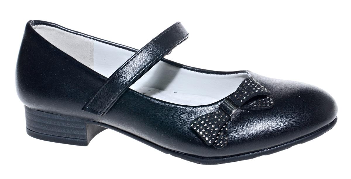 Туфли для девочки М+Д, цвет: черный. 7804_1А. Размер 337804_1АСтильные туфли для девочки от М+Д выполнены из искусственной кожи. Модель на небольшом квадратном каблуке на подъеме фиксируется при помощи ремешка на липучке. Туфли оформлены очаровательным бантиком.