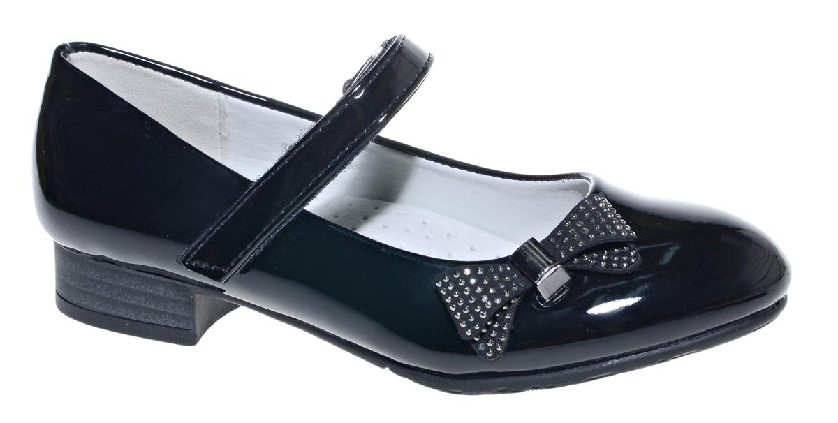 Туфли для девочки М+Д, цвет: черный. 7804_1В. Размер 307804_1ВСтильные туфли для девочки от М+Д выполнены из искусственной лаковой кожи. Модель на небольшом квадратном каблуке на подъеме фиксируется при помощи ремешка на липучке. Туфли оформлены очаровательным бантиком.