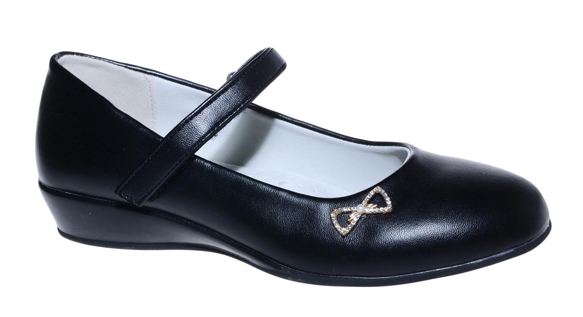 Туфли для девочки М+Д, цвет: черный. 7805_1А. Размер 337805_1АСтильные туфли для девочки от М+Д выполнены из искусственной кожи. Модель на небольшой танкетке на подъеме фиксируется при помощи ремешка на липучке. Туфли оформлены небольшим металлическим элементом.