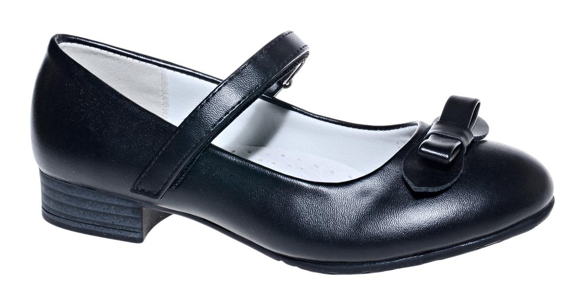 Туфли для девочки М+Д, цвет: черный. 7806_1А. Размер 367806_1АСтильные туфли для девочки от М+Д выполнены из искусственной кожи. Модель на небольшой танкетке на подъеме фиксируется при помощи ремешка на липучке. Туфли оформлены очаровательным бантиком.