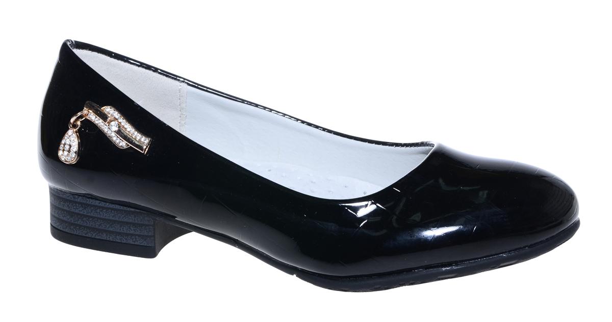 Туфли для девочки М+Д, цвет: черный. 7807_1. Размер 327807_1Стильные туфли для девочки от М+Д выполнены из искусственной лаковой кожи. Модель на небольшом квадратном каблуке и с круглым мыском.