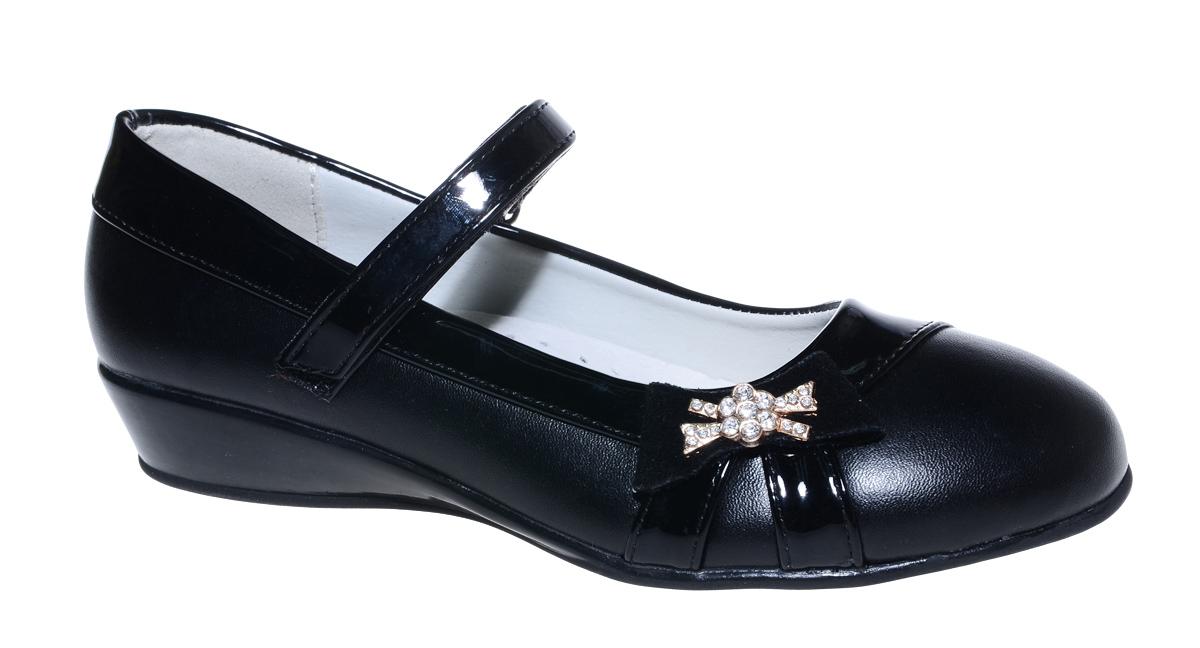 Туфли для девочки М+Д, цвет: черный. 7809_1. Размер 357809_1Стильные туфли для девочки от М+Д выполнены из искусственной кожи. Модель на небольшой танкетке на подъеме фиксируется при помощи ремешка на липучке. Модель оформлена очаровательным бантиком со стразами.