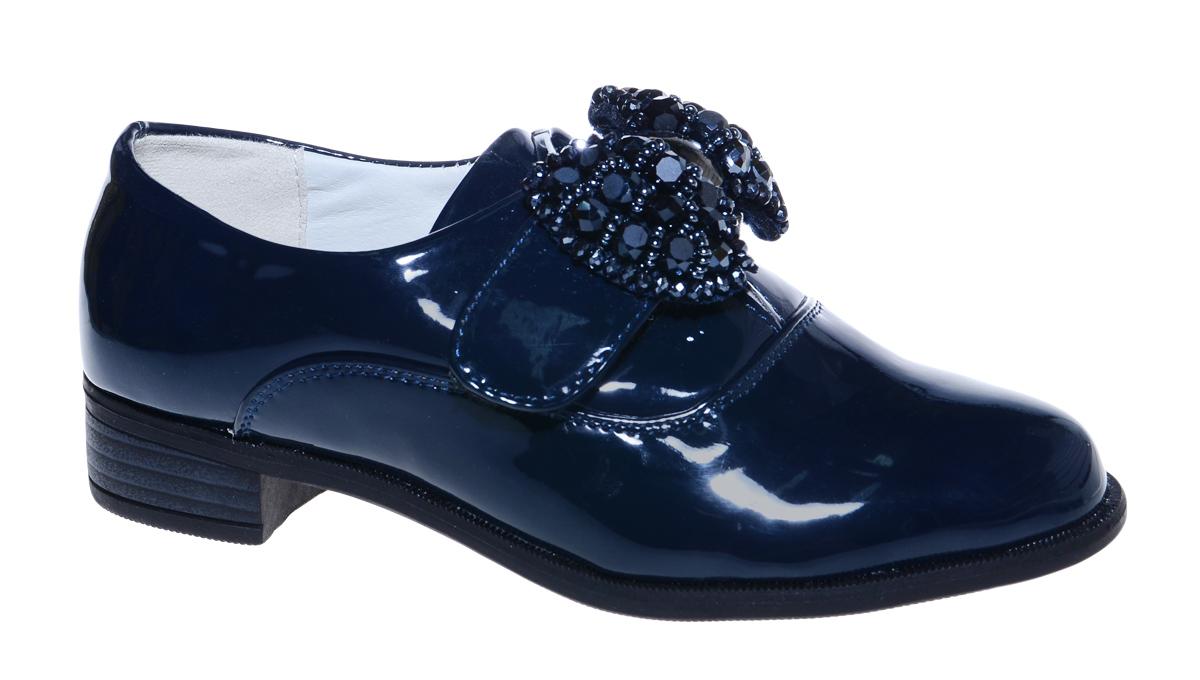 Туфли для девочки М+Д, цвет: синий. 7810_2. Размер 337810_2Стильные туфли для девочки от М+Д выполнены из искусственной лаковой кожи. Модель на небольшом квадратном каблуке на подъеме фиксируется при помощи ремешка на липучке, декорированного очаровательным бантиком.