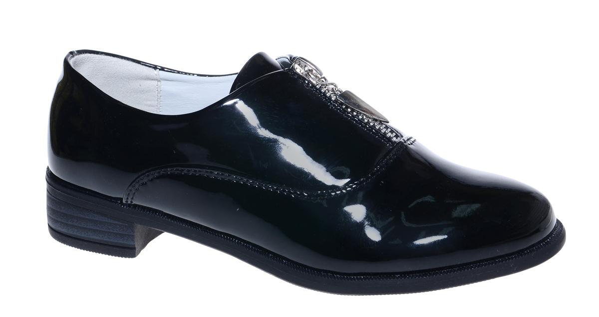 Туфли для девочки М+Д, цвет: черный. 7812_1. Размер 307812_1Стильные туфли для девочки от М+Д выполнены из искусственной лаковой кожи. Модель на небольшом квадратном каблуке на подъеме фиксируется при помощи молнии.