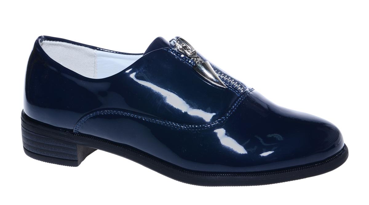 Туфли для девочки М+Д, цвет: темно-синий. 7812_2. Размер 347812_2Стильные туфли для девочки от М+Д выполнены из искусственной лаковой кожи. Модель на небольшом квадратном каблуке на подъеме фиксируется при помощи молнии.
