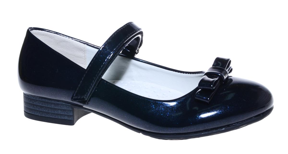 Туфли для девочки М+Д, цвет: темно-синий. 7813_2. Размер 317813_2Стильные туфли для девочки от М+Д выполнены из искусственной лаковой кожи. Модель на небольшом квадратном каблуке на подъеме фиксируется при помощи ремешка на липучке. Модель оформлена очаровательным бантиком.