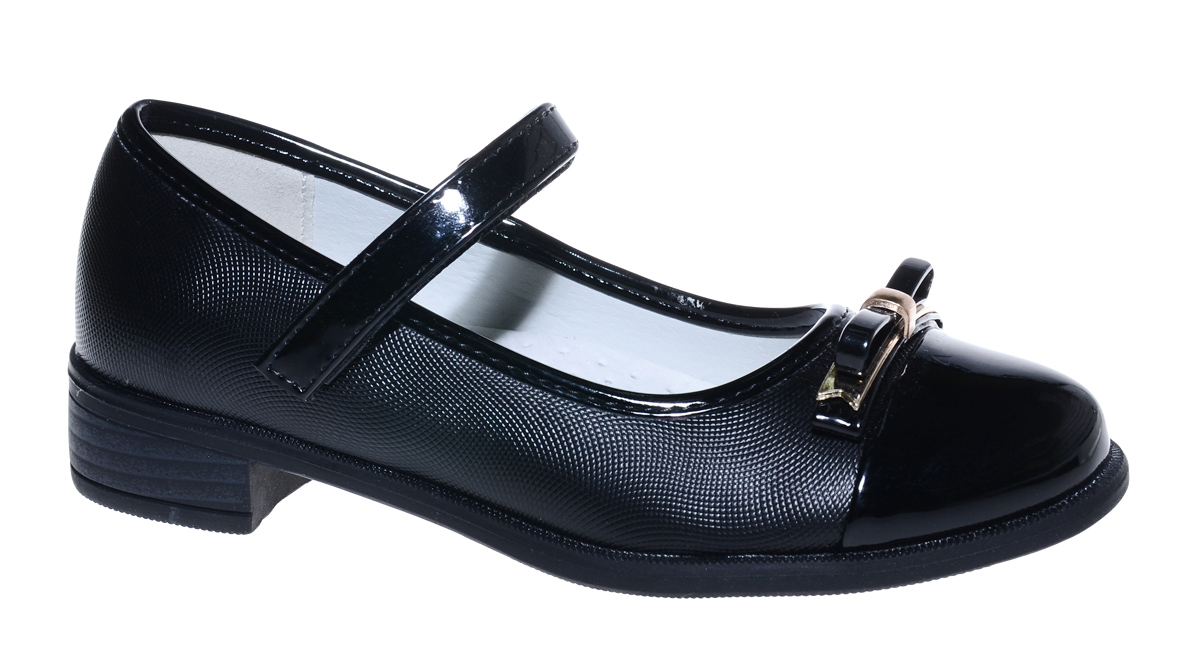 Туфли для девочки М+Д, цвет: черный. 7815_1. Размер 317815_1Стильные туфли для девочки от М+Д выполнены из фактурной искусственной кожи. Модель на небольшом квадратном каблуке и лакированным мыском на подъеме фиксируется при помощи ремешка на липучке. Модель оформлена очаровательным бантиком.