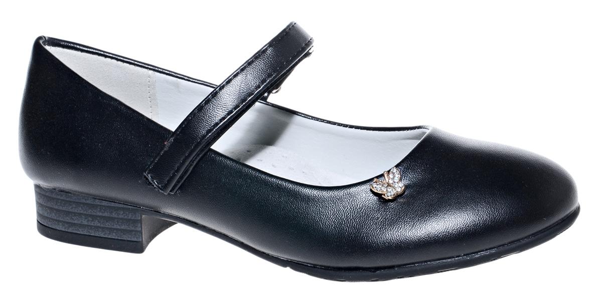 Туфли для девочки М+Д, цвет: черный. 7816_1А. Размер 337816_1АСтильные туфли для девочки от М+Д выполнены из искусственной кожи. Модель на небольшом квадратном каблуке на подъеме фиксируется при помощи ремешка на липучке. Модель оформлена небольшим металлическим элементом.
