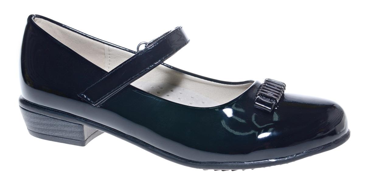 Туфли для девочки М+Д, цвет: черный. 7818_1. Размер 357818_1Стильные туфли для девочки от М+Д выполнены из искусственной лаковой кожи. Модель на небольшом квадратном каблуке на подъеме фиксируется при помощи ремешка на липучке. Модель оформлена очаровательным бантиком.