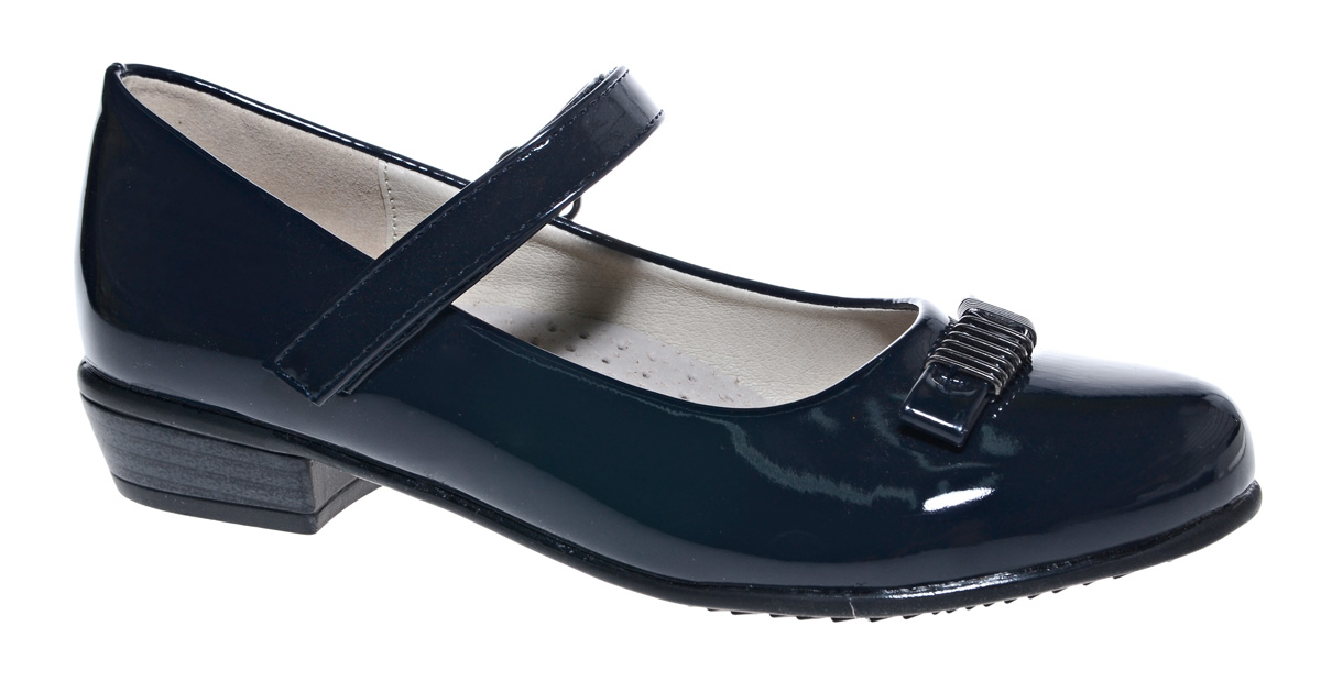 Туфли для девочки М+Д, цвет: темно-синий. 7818_2. Размер 327818_2Стильные туфли для девочки от М+Д выполнены из искусственной лаковой кожи. Модель на небольшом квадратном каблуке на подъеме фиксируется при помощи ремешка на липучке. Модель оформлена очаровательным бантиком.