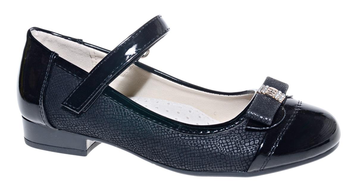 Туфли для девочки М+Д, цвет: черный. 7819_1. Размер 347819_1Стильные туфли для девочки от М+Д выполнены из комбинации фактурной искусственной кожи и искусственной лаковой кожи. Модель на небольшом квадратном каблуке на подъеме фиксируется при помощи ремешка на липучке. Модель оформлена очаровательным бантиком.