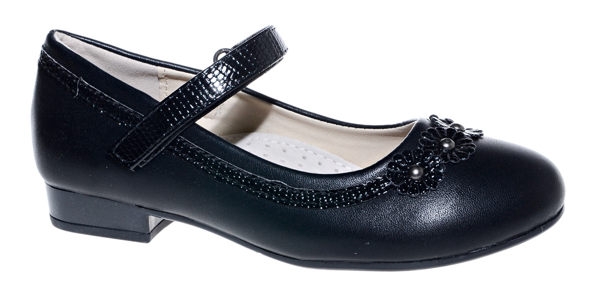 Туфли для девочки М+Д, цвет: черный. 7820_1. Размер 327820_1Стильные туфли для девочки от М+Д выполнены из искусственной кожи. Модель на небольшом квадратном каблуке на подъеме фиксируется при помощи ремешка на липучке. Модель оформлена очаровательными цветочками.