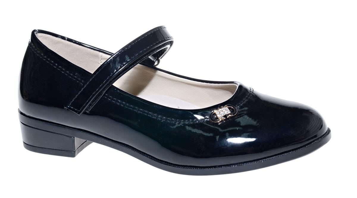 Туфли для девочки М+Д, цвет: черный. 7822_1. Размер 367822_1Стильные туфли для девочки от М+Д выполнены из искусственной лаковой кожи. Модель на небольшом квадратном каблуке на подъеме фиксируется при помощи ремешка на липучке.