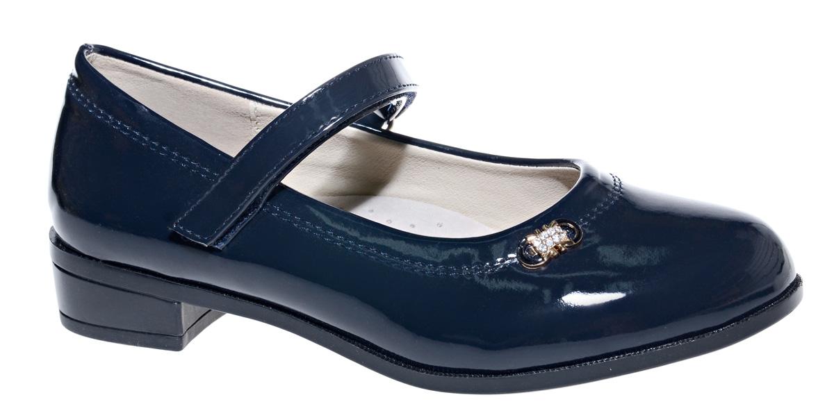 Туфли для девочки М+Д, цвет: темно-синий. 7822_2. Размер 317822_2Стильные туфли для девочки от М+Д выполнены из искусственной лаковой кожи. Модель на небольшом квадратном каблуке на подъеме фиксируется при помощи ремешка на липучке.